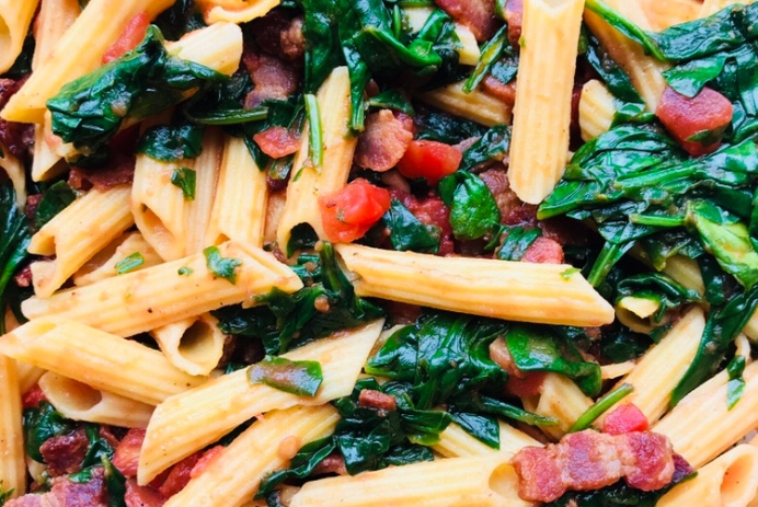 mango and paper recipe bacon and spinach pasta